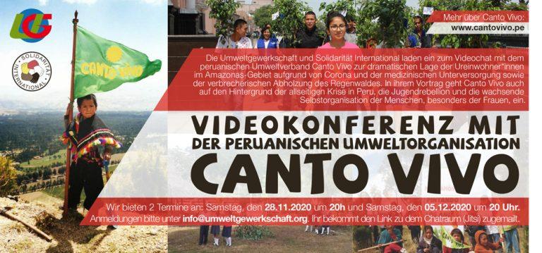 Einladung zum Videochat mit Canto Vivo am 28.11.oder 05.12.2020